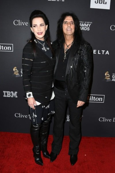 BEVERLY HILLS, CA - FEBRUARY 09: Sheryl Goddard and Alice Cooper (R) attend The Recording Academy And Clive Davis' 2019 Pre-GRAMMY Gala at The Beverly Hilton Hotel on February 9, 2019 in Beverly Hills, California.  (Photo by Jon Kopaloff/Getty Images)