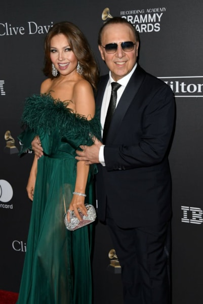 BEVERLY HILLS, CA - FEBRUARY 09:  Thalia and Tommy Mottola attend The Recording Academy And Clive Davis' 2019 Pre-GRAMMY Gala at The Beverly Hilton Hotel on February 9, 2019 in Beverly Hills, California.  (Photo by Jon Kopaloff/Getty Images)