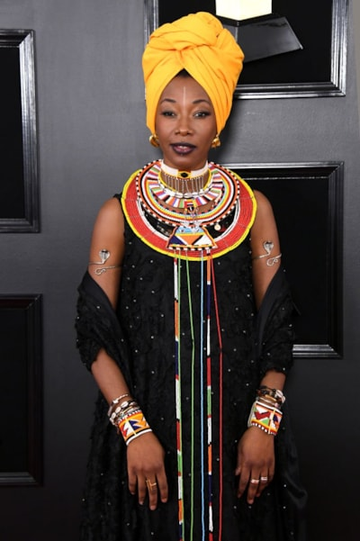 LOS ANGELES, CALIFORNIA - FEBRUARY 10: Fatoumata Diawara attends the 61st Annual GRAMMY Awards at Staples Center on February 10, 2019 in Los Angeles, California. (Photo by Jon Kopaloff/Getty Images)