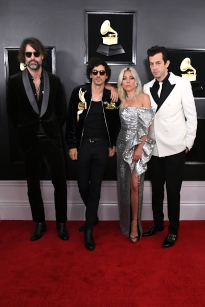 LOS ANGELES, CALIFORNIA - FEBRUARY 10: (L-R) Andrew Wyatt, Anthony Rossomando, Lady Gaga, and Mark Ronson attend the 61st Annual GRAMMY Awards at Staples Center on February 10, 2019 in Los Angeles, California. (Photo by Jon Kopaloff/Getty Images)